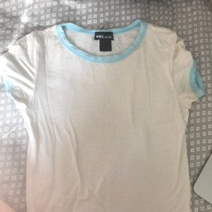 Wet Seal Tops - Babydoll White Blue Tee